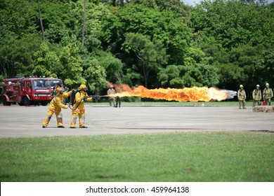 PHITSANULOK, THAILAND - JULY 25,2016 : Flamethrower of Royal Thai Army  demonstration at 3 rd Army Area Thailand on July 25 , 2016