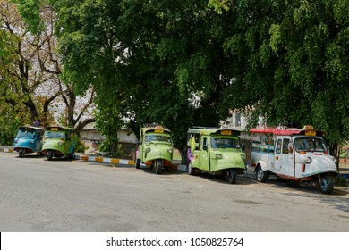 Phitsanulok, Thailand.- March 19, 2018 : Tuk Tuk Thailand services for travelers around city in Phitsanulok province. It's called taxi public services transportation to travel and tourism, 2018.