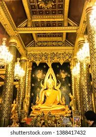 Phitsanulok ,Thailand - May 11, 2018: Buddha statues in  Old temple  (Phra Phuttha Chinarat) in Phitsanulok Province, Thailand.