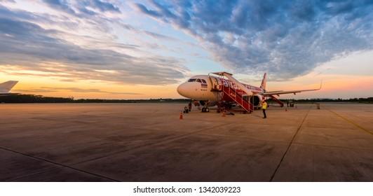 PHITSANULOK, THAILAND - MAY 5, 2018 :  Phitsanulok Airport in Phitsanulok Province, Thailand.
