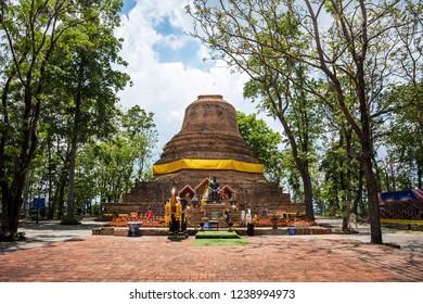 PHITSANULOK, THAILAND - MAY 6, 2018 : The ancient pagoda in Wat Khao Samo Klaeng Temple, Phitsanulok Province, Thailand.
