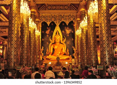 PHITSANULOK, THAILAND - May12, 2019 : Phra Buddha Chinnarat is a Buddha image enshrined in Phitsanulok Province. Buddhists therefore respect and worship when visiting Phitsanulok.