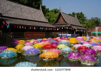 PHITSANULOK, THAILAND - NOVEMBER 17, 2018:  Beautiful kratong Made of foam is floating on the water for Loy Kratong Festival or Thai New Year Be famous festival of Phitsanulok province, Thailand