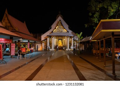 PHITSANULOK, THAILAND - NOVEMBER 4, 2018: The atmosphere inside (Wat Phra Si Rattana Mahathat) has restored the temple roof at night in Phitsanulok province, Thailand