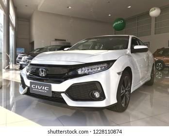 Phitsanulok, Thailand - November 5, 2018:In the showroom, Honda cars have beautiful white cars parked in the Honda Civic Hatchback