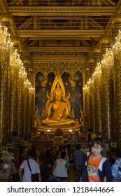 PHITSANULOK, THAILAND - OCT 31, 2018: Buddha statue in Phra Sri Rattana Mahathat Temple, Name is Phra Buddha Chinnarat, Phitsanulok in Thailand.