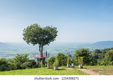 "Phitsanulok ,Thailand - October 12,2018 : The Thai tourist enjoy with swing on giant heart tree in ""Noen-Maprang"" ,Phitsanulok Province,Thailand."