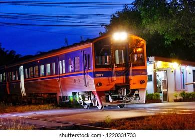 Phitsanulok, THAILAND - October 23 : Phitsanulok Train Station at night on October 23, 2018 in Phitsanulok, THAILAND.