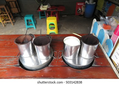 PHITSANULOK, THAILAND - OCTOBER 24, 2016: Coffee bag in stanless steel pot ,Thai style coffe tool , Street food and drink Thailand