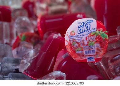 PHITSANULOK, THAILAND - OCTOBER 26, 2018:  Juice strawberries DeeDo  at market in Phitsanulok province, Thailand