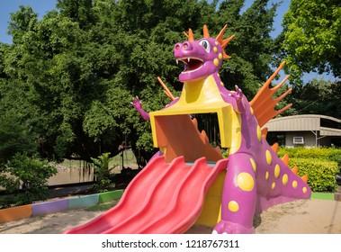 PHITSANULOK, THAILAND - OCTOBER 30, 2018:Dinosaur playground in park, Phitsanulok province, Thailand