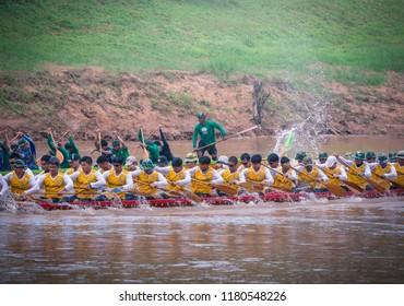 Phitsanulok, Thailand - September 16, 2018 : Long Boat Racing Festival at Nan River in Phitsanulok, Thailand.