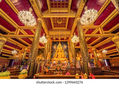PHITSANULOK, THAILAND - September 16, 2018 : The Chinnarat buddha sculpture at Wat Phar Sri Rattana Mahathat woramahawihan temple, Phitsanulok in Thailand.