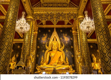 Phitsanulok, THAILAND - September 29, 2018: Buddha statue in Wat Phra Sri Rattana Mahathat Temple, Name is Phra Buddha Chinnarat, Phitsanulok in Thailand.