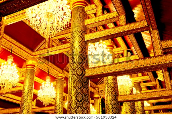 Phitsanulok, Thailand-April 27, 2016:Art and design in the beautiful Wat Phra Si Rattana Mahathat.