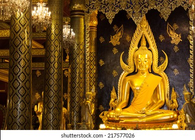 PHITSANULOKE - SEPTEMBER 14,2014 : The most beautiful buddha sculpture in Phitsanuloke,Phra Buddha Chinnarat is the most beautiful and the large bronze buddha sculpture  in Phitsanulok, Thailand