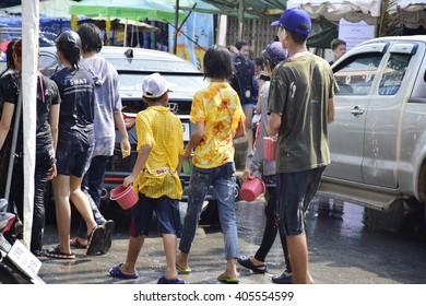 PHITSANULOKE,Thailand-14-April-2016-Atmosphere of celebrating Songkran festival on Ekathosarot Road in the city ofPhitsanuloke.