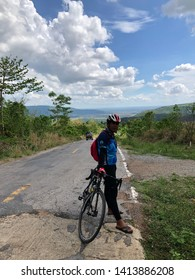 Phitsanulok,Thailand - June 1, 2019: Cyclists group of Audax Thailand 200 km.Bicycle route from Audax 200 BRM Phitsanulok 2019.