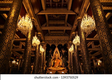 Phitsanulok/Thailand - March 29th, 2019. Golden Buddha Chinnarat the most beautiful attitude of subduing Mara Buddha state in the world at Mahathat temple Phitsanulok province Thailand