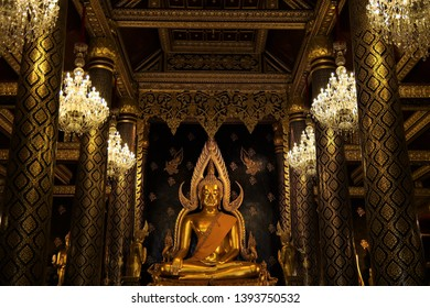 Phitsanulok/Thailand - March 29th, 2019.Golden Buddha Chinnarat the most beautiful attitude of subduing Mara Buddha state in the world at Mahathat temple Phitsanulok province Thailand