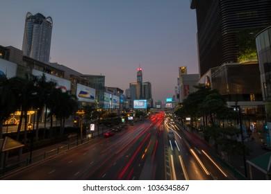 Phloen Chit Road at Central World heading to Pratunam junction, Bangkok, Thailand, 6 February 2018.