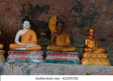 Phnom Kulen, Cambodia - MAR 15, 2015 - Small Buddha statues  in a shrine at  Phnom Kulen, Cambodia