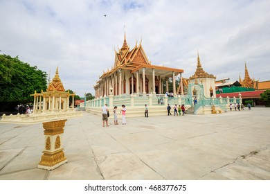 PHNOM PENH - AUGUST,14 : The Golden temple of Royal Palace Where located in Phnom Penh city that's tourist attraction and famous landmark - Royal Palace complex. CAMBODIA AUGUST,14 2016