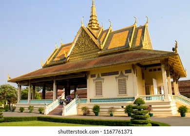 Phnom Penh, Cambodia - 02.16.2018: The Phochani Pavilion in the grounds of the Royal Palace in Phnom Penh, Cambodia, under a flawless blue sky.