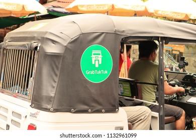 PHNOM PENH, CAMBODIA. 2018 Jun 21st. Grab TukTuk Vehicle. Grab is a Car Pick-up App at South East Asian Countries.