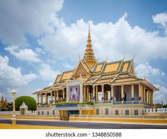 PHNOM PENH, CAMBODIA - 8 May 2014: the Royal Palace and King's residence main building in Phnom Penh, Cambodia.