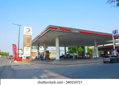 PHNOM PENH, CAMBODIA - APR 30, 2015 : Total gas station at Phnom Penh, Cambodia