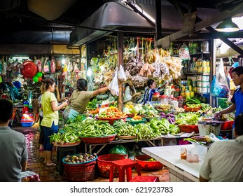 Phnom Penh, Cambodia - Circa January 2017 - Food market in Cambodia