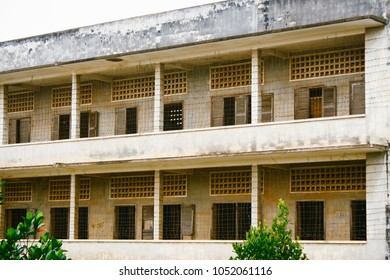 PHNOM PENH, CAMBODIA - CIRCA JULY 2010: Exterior view of Tuol Sleng Genocide Museum, a former high school which was used as Security Prison 21 (S-21) by the Khmer Rouge regime from 1975 - 1979