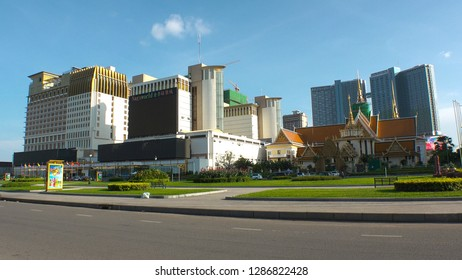 "PHNOM PENH,  CAMBODIA - CIRCA NOVEMBER 2018 : View of ""NagaWorld Hotel & Entertainment Complex"".  Large CASINO inside the hotel."