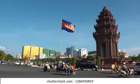 PHNOM PENH,  CAMBODIA - CIRCA NOVEMBER 2018 : View of INDEPENDENCE MONUMENT.