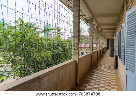 PHNOM PENH, CAMBODIA - DECEMBER 12, 2015: Tuol Sleng Genocide Museum. The Tuol Svay Prey High School was taken over by Pol Pot's Khmer Rouge to become the S-21 (Security Prison 21)
