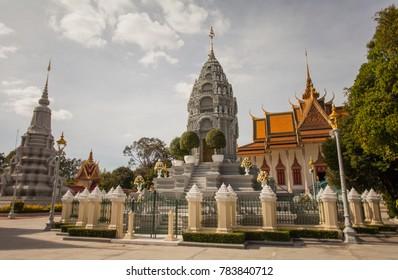 PHNOM PENH, CAMBODIA - DECEMBER 25 2017: His Majesty Preah Bat Samdech Preah Norodom Sihanouk And Her Royal Highness Kantha Bopha´s Stupa