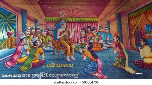 PHNOM PENH, CAMBODIA - FEB 8, 2015 - Scene from the life of the Buddha,  Langka Pagoda  temple,  Phnom Penh,   Cambodia