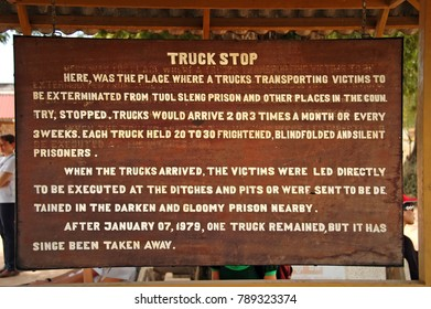 Phnom Penh, Cambodia - February 21, 2008; Sign at the Cambodian Killing Fields describes Truck Stop at Choeung Ek.