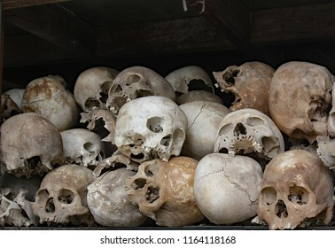 Phnom Penh, Cambodia. Jan 11th 2012. Skulls of young men murdered by the Pol Pot regime in the Killing Fields of the Cambodian Holocaust; on display in a shrine to the dead.