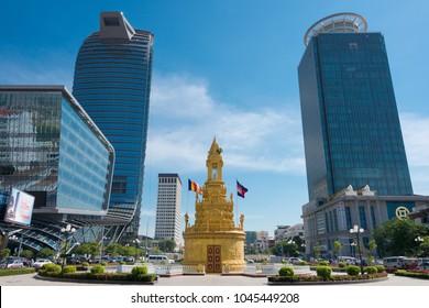 Phnom Penh, Cambodia - Jan 12 2018: Canadia Bank and Vattanac Capital Tower, cityscape in Phnom Penh, Cambodia.