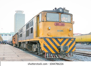 Phnom Penh, Cambodia - Jan 13 2018: Diesel Locomotive at Phnom Penh Railway station in Phnom Penh, Cambodia. Cambodia has 612km of 1000mm metre gauge rail network.