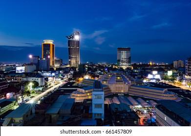 PHNOM PENH, CAMBODIA  - Jan 22, 2017: Phnom Penh night cityscape with skyscrapers and Central Market view, Cambodia