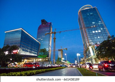 PHNOM PENH, CAMBODIA - Jan 23, 2017: Modern skyscrapers at night in Phnom Penh, Cambodia