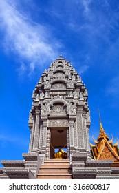 PHNOM PENH, CAMBODIA - JANUARY 11: Sanctuary of Princess Norodom Kantha Bopha near Silver Pagoda on January 11, 2013 in Phnom Penh, Cambodia. This sanctuary was built in 1960.