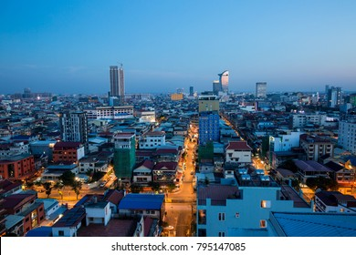 PHNOM PENH, CAMBODIA - JANUARY 14th, 2018:Cityscape of  light morning  building, abstract background
