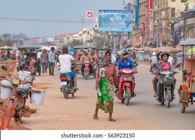 PHNOM PENH, CAMBODIA - JANUARY 2015: Street Cambodian capitaly of Phnom Penh, Cambodia