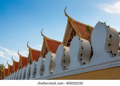 PHNOM PENH, CAMBODIA - JANUARY 4, 2013: Architectural detail of the Royal Palace.