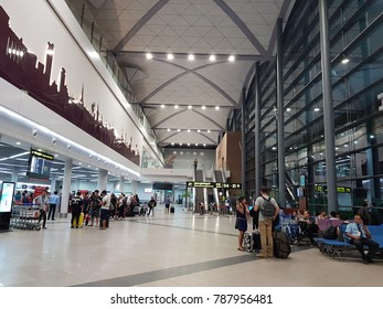 Phnom Penh, Cambodia - January 6, 2018 : Passengers wait for check in , there are not a lot of people after new year long week end in Phnom Penh international airport.