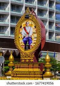Phnom Penh, Cambodia - January 9, 2020: Monument for Norodom Sihamoni, King of Cambodia, in the downtown.